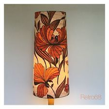 Handmade 60s 70s Style  Vintage Fabric Tall Conical Lampshade Fat Lava