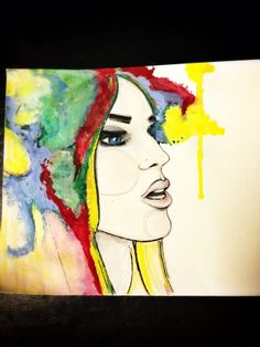 Watercolor. Prismacolor pencil. Brush tip marker & oil pastels on Canson mixed media paper.
