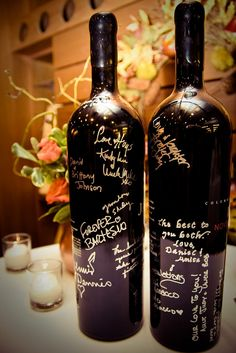 Alternate Wedding Guest Book / could reuse the bottle as a vase, etc