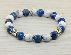 ~ Bracelets by Karen ~ Lapis Lazuli and Howlite with Silver Spacers