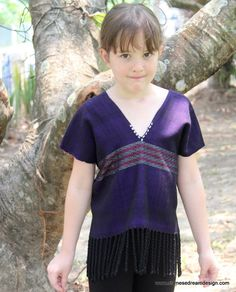 Girls Boho Top Vintage Hand Woven Ethnic Karen Royal Purple With Fringe by DekDoi