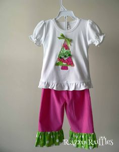 A cute appliqued Christmas tree T-shirt with ribbons and pom-poms matched with pink corduroy pants with ruffles. https://www.etsy.com/shop/RazzyRuffles #appliqueshirt #razzyruffles