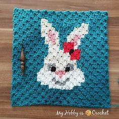 "My Hobby Is Crochet: ""Sassy Bunny"" Square - Free Crochet Pattern: Written Instructions + Graph Crochet Afgans, C2c Crochet, All Free Crochet, Crochet Squares, Crochet Hooks, Granny Squares, Crochet Buttons, Crochet Ornaments, Crochet Snowflakes"