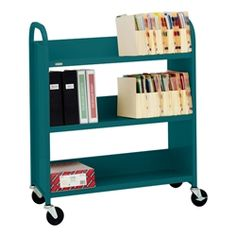 "43"" H Traditional Single-Sided Book Cart - Shown in polo green"
