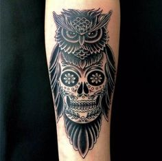 Owl with Skull #Tattoo, #Tattooed, #Tattoos