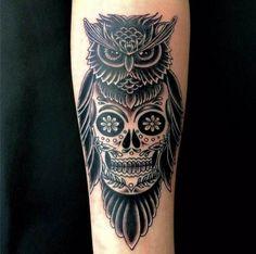 Owl with Skull #Tattoo, #Tattooed, #Tattoos