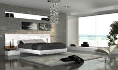 Dormitorio matrimonio moderno lacado blanco brillo. 11-04