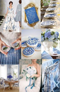 That crisp sapphire blue against the white with its old fashioned vintage glory makes such a unique base for a wedding palette. A warm, Summer setting with blue willow plates set on neutral linens. Blue Willow China, Blue And White China, Blue China, Indigo Wedding, Wedding Blue, Camp Wedding, Wedding Summer, Wedding Hair, Wedding Themes