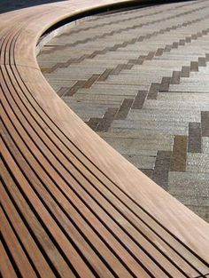 gorgeous combo of bentwood and herringbone pavers