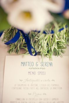 rosemary inspired menu http://weddingwonderland.it/2015/05/matrimonio-bohemien-blu.html