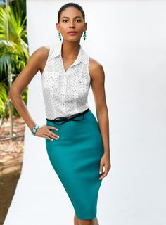 Our favorite fabric, Perfect Form in a fabulous new shade of green (Lagoon!)  #whbm #perfectform #summer