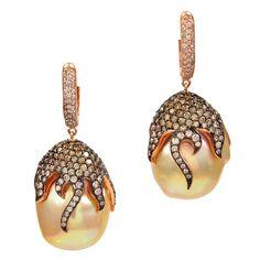 Baroque pearl, champagne & white diamond earrings - beautiful!