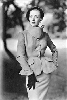 1951 'Way to look in suits' by Lachasse in fine Irish wool, 'brigand collar', curvaceous lines, jacket slits at the back, photo by Don Honeyman