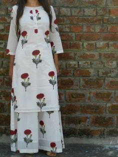 Shop Red mogra tunic with palazzo pants Simple Kurta Designs, Kurti Neck Designs, Kurta Designs Women, Blouse Designs, Indian Fashion Dresses, Indian Outfits, Pakistani Dresses, Printed Kurti Designs, Kurta Patterns