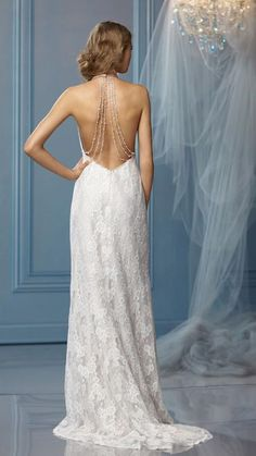 backless wedding dress.  Gatsby inspired dress.