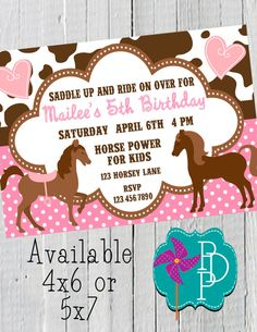 Girls horse birthday party invitation printable horse pony girls horse birthday party invitation printable horse pony birthday invite purple blue or pink color country farm birthday invite allis 5th filmwisefo