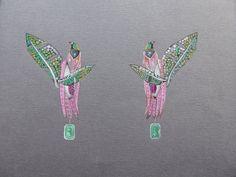 Tropical bird earring jewellery render mounted by Edwardfleming