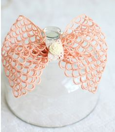 Eileen Crochet Bow Hair Clip By Petit Plume ~ It is just kinda cute, somehow.