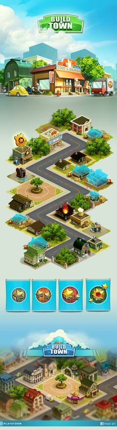 Build a town by Elia Golovchak, via Behance ★ Find more at… Level Design, Bg Design, Game Ui Design, Game Environment, Environment Concept, Environment Design, Isometric Art, Isometric Design, Vitrine Design