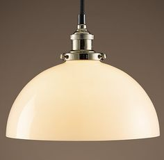 20th C. Factory Filament Milk Glass Dome Pendant
