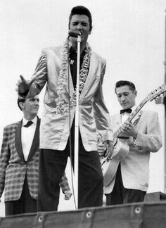 Elvis Presley, Hugh Jarrett and Scotty Moore at Honolulu Stadium; Elvis Presley Priscilla, Scotty Moore, Elvis Presley Pictures, Rockabilly Music, Elvis In Concert, Young Elvis, Chuck Berry, Star Wars, Thats The Way