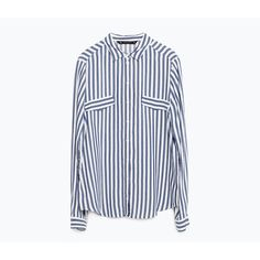 Zara Striped Blouse (625 ZAR) ❤ liked on Polyvore featuring tops, blouses, stripe top, white blouse, striped blouse, zara blouse and white top