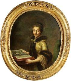 Portrait de Izabela z Poniatowskich Branicka (1730-1808), avec un livre, artiste inconnu du XVIIIe siècle