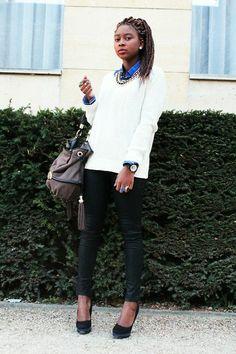 Jennyfer Sweater, Jules Shirt, Zara Pant, New Look Heels, H&M Necklace, Lancel Bag