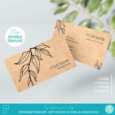 Editable Floral Business Card Template Printable Kraft | Etsy Card Templates Printable, Thank You Card Template, Label Templates, Printables, Tag Design, Label Design, Custom Business Cards, Business Card Design, Packaging Stickers