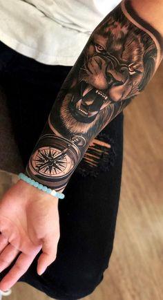 cool lion tattoo ideas © tattoo artist Vladimir Drozdov 💕💕💕💕💕