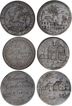 James's Auctions Auction Lot 546 : Rural Idyll, Georgian halfpennies smoothed and engraved. Momento Mori, Historical Artifacts, Primitive Furniture, Old Signs, Amulets, Tribal Jewelry, Story Ideas, 18th Century, Art Inspo