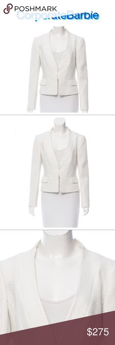 """Valentino Silk Blend Textured Blazer Gorgeous ivory/white basket weave silk blend blazer from Valentino. Dual hook and eye closure. 76% cotton and 24% silk. Fully lined in 100% polyester. Size 10. 38"""" bust, 37"""" waist, 21.5 length. Like new. Originally $1195. Valentino Jackets & Coats Blazers"""