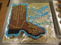 A cowboy boot cupcake cake I made for my friend's little boy's second b-day