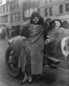 Victorian Woman Auto Racer Poses Vintage 8x10 Reprint Of Old Photo