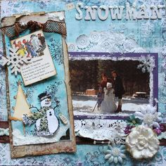 Shabby Snowman Scrapping Page...with a tag.