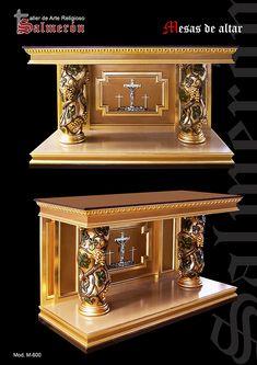 Mesa de altar barroca talla de madera y pan de oro taller - Mesa de taller ...