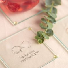 Make your wedding or other event a day to remember with these personalized glass coasters. Beautiful and sophisticated favors your guests will love to take home! Summer Wedding Favors, Wedding Favor Table, Wedding Coasters, Wedding Favours, Fall Wedding, Party Favors, Wedding Ideas, Wedding Tables, Dusty Rose Wedding