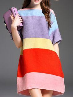 INPLUS LADY Multicolor Casual Cotton-blend Shift Color-block Mini Dress