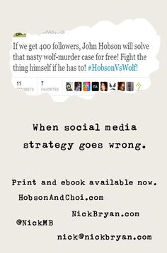 The back of my new The Girl Who Tweeted Wolf launch business cards. It's the fake tweet that makes it.