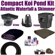 """10 x 15 Compact Pro Koi Pond Kit 2,100 GPH Pump Atlantic 14"""" Waterfall & Atlantic 6"""" Skimmer XSA4 by Patriot. $605.00. 1½"""" x 25' Kink Free Pond Hose, (1) 20 Watt Rock Lights with 20 Watt Transformer, All Installation Hardware & Directions. 10 x 15 EPDM LifeGuard Liner (lifetime warranty-25 Years) and 150 Square Feet of Underlayment, Atlantic 14"""" Waterfall BF1000 & Atlantic 6"""" Skimmer PS3900, & 2,100 GPH Pump Anjon FL2100. Ships Truck Freight or FedEx Ground - Additional Carrie..."""