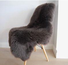 Dark Grey Brown Mink Sheepskin British Rug In Luxuriously Thick And Soft Fleece Throw