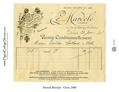 Instant Download Vintage French Invoice Collage Sheet - 1899 - DCS-880  - French Ephemera  -Collage Decor, Printables, Downloads