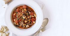 Our clam, chorizo and white bean stew takes inspiration from Porthmeor Cafe in St Ives. The clams lift the rich stew and flavour-packed chorizo.