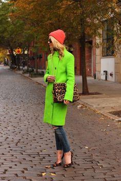 neon green + leopard