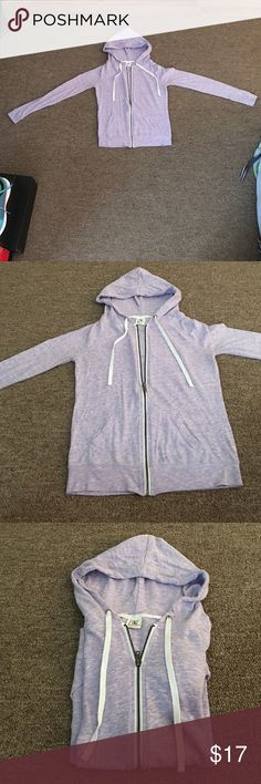 Zine light purple zip up hoodie Worn only once. In perfect condition. This is a size small but does not have much stretch to it. Fits great on petite women and juniors. No stains or rips. Tops Sweatshirts & Hoodies