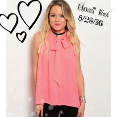 ❣Host Pick❣ Polka dot Sleeveless Blouse 🎉Host Pick 8/29/16🎉Melon Pink with Black Polka dot Sleeveless Blouse. Perfect for the office & then out for the evening. Wonderful detail with a high neck & self tie full bow, small slit in the back. Two small snaps in the back. Beautiful blouse for Spring that will transition into summer. Made of 100% Polyester.                            🎉Host Pick Back to Campus 8/29/16                                           🔺Cuff sold separately, but bundle…
