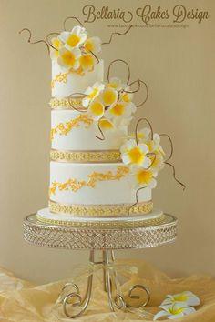 Exquisite Bali Themed Yellow Flowers Wedding Cake