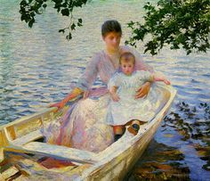 Edmund C. Tarbell, Mother and Child in a Boat, museum of Fine Arts, Boston.  Tarbell was an American Impressionist painter.