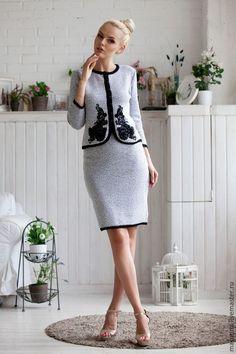"""Купить Костюм """"Одри"""" - серый, однотонный, костюм, женский костюм, деловой костюм, Вязаный комплект"""