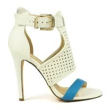Fahrenheit Polo-01 White Color-blocked Perforated Sandals Buckle